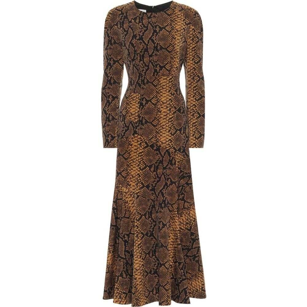 ドリス ヴァン ノッテン Dries Van Noten レディース ワンピース ミドル丈 ワンピース・ドレス【snake-print wool midi dress】Gold