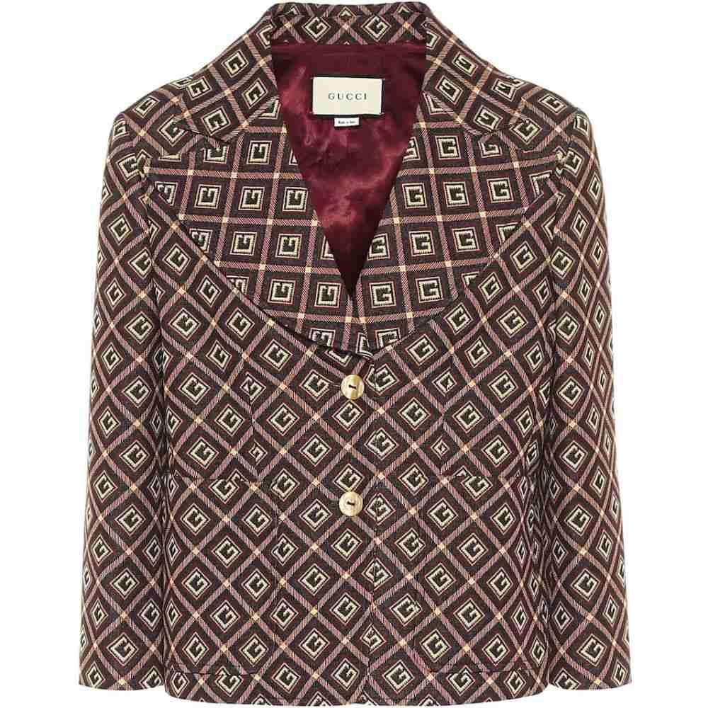 グッチ Gucci レディース スーツ・ジャケット アウター【jacquard blazer】Black/Ivory/Mc