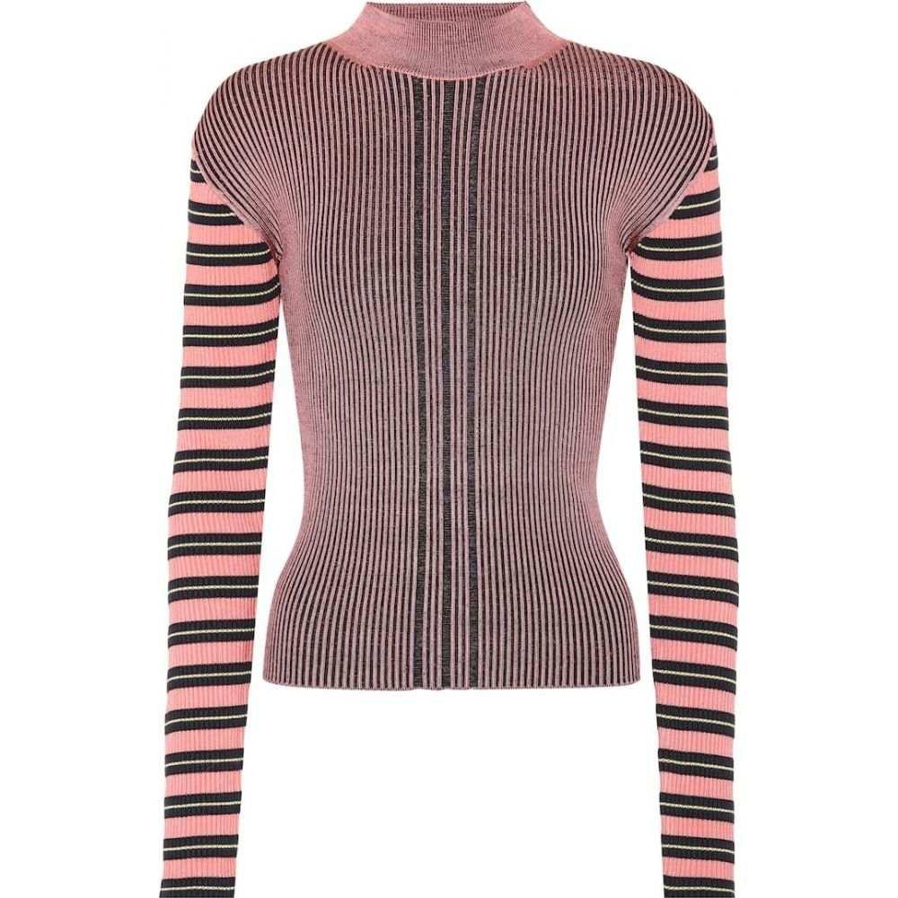 アレキサンダー マックイーン McQ Alexander McQueen レディース ニット・セーター トップス【striped cotton-blend sweater】Fondant Pink