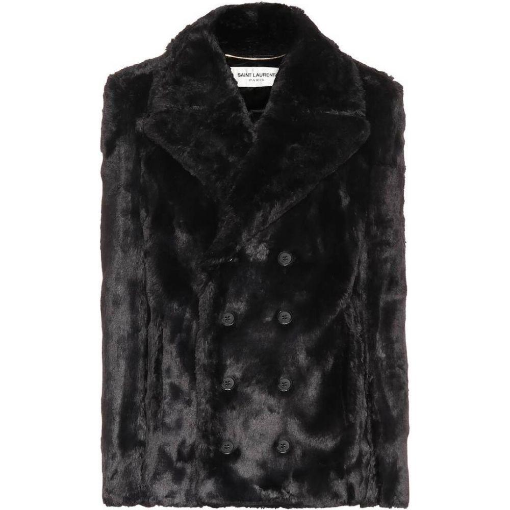 イヴ サンローラン Saint Laurent レディース コート ピーコート アウター【faux fur pea coat】Noir