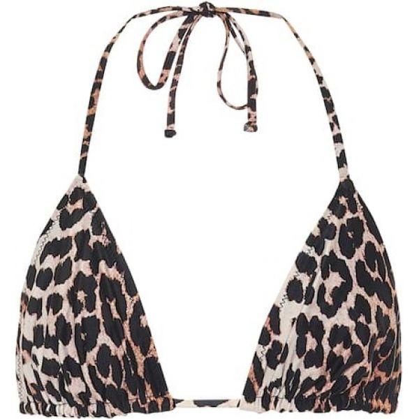 レディース Ganni top】Leopard ガニー トップのみ bikini 水着・ビーチウェア【leopard-print triangle