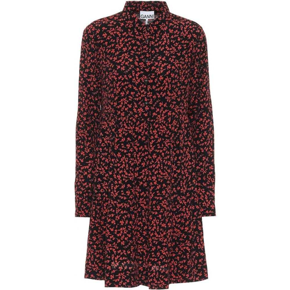 ガニー Ganni レディース ワンピース シャツワンピース ワンピース・ドレス【floral crepe shirt dress】Black