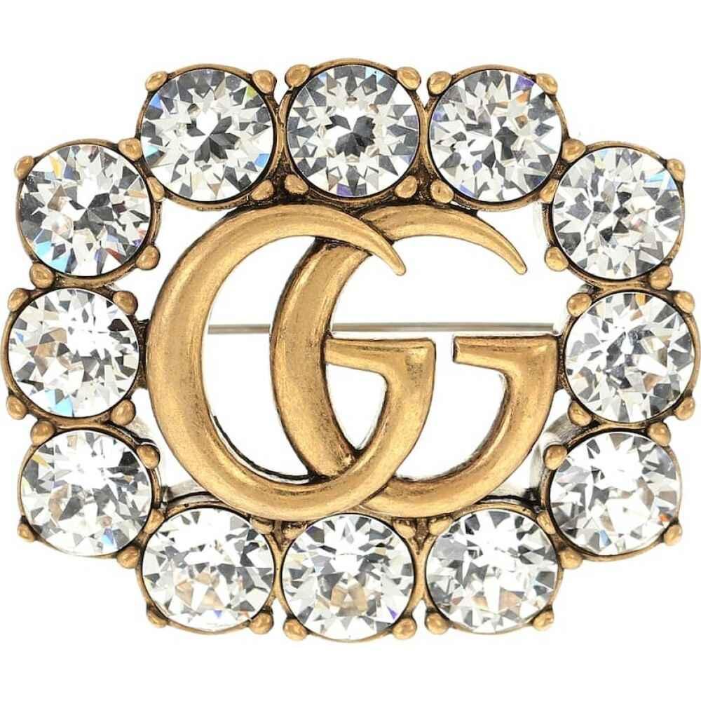 グッチ Gucci レディース ブローチ ジュエリー・アクセサリー【double g crystal-embellished brooch】