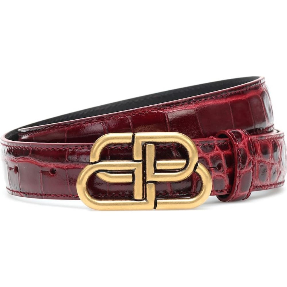 バレンシアガ Balenciaga レディース ベルト 【bb croc-effect leather belt】Dark Red