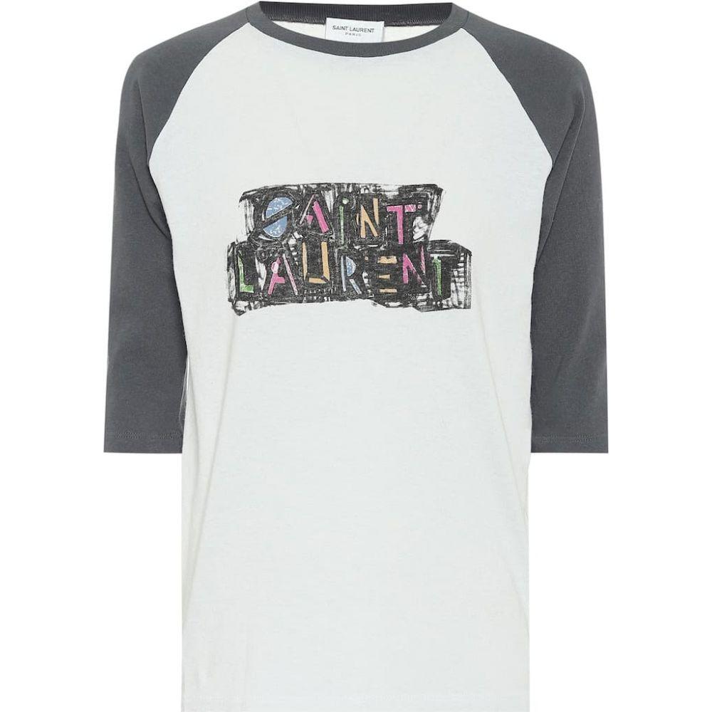 イヴ サンローラン Saint Laurent レディース 長袖Tシャツ トップス【logo cotton-jersey t-shirt】White