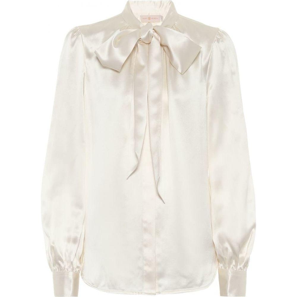トリー バーチ Tory Burch レディース ブラウス・シャツ トップス【tie-neck silk satin blouse】New Ivory
