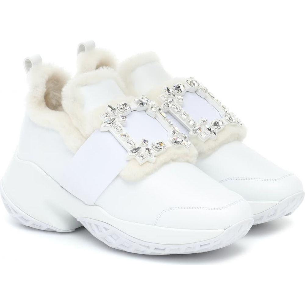 ロジェ ヴィヴィエ Roger Vivier レディース スニーカー シアリング シューズ・靴【Viv' Run Shearling And Leather Sneakers】Bianco
