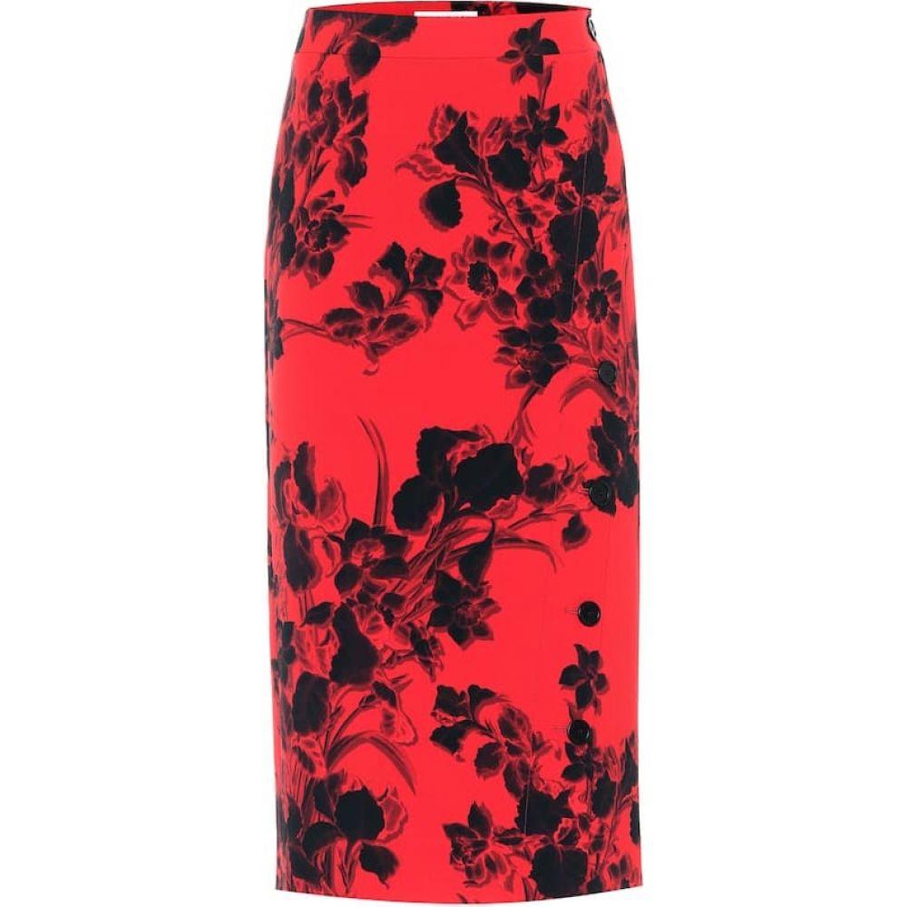 バレンシアガ Balenciaga レディース ひざ丈スカート スカート【Floral Virgin Wool Midi Skirt】Red