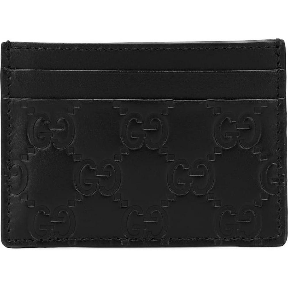 グッチ Gucci レディース カードケース・名刺入れ カードホルダー【Signature Leather Card Holder】Nero/Nero