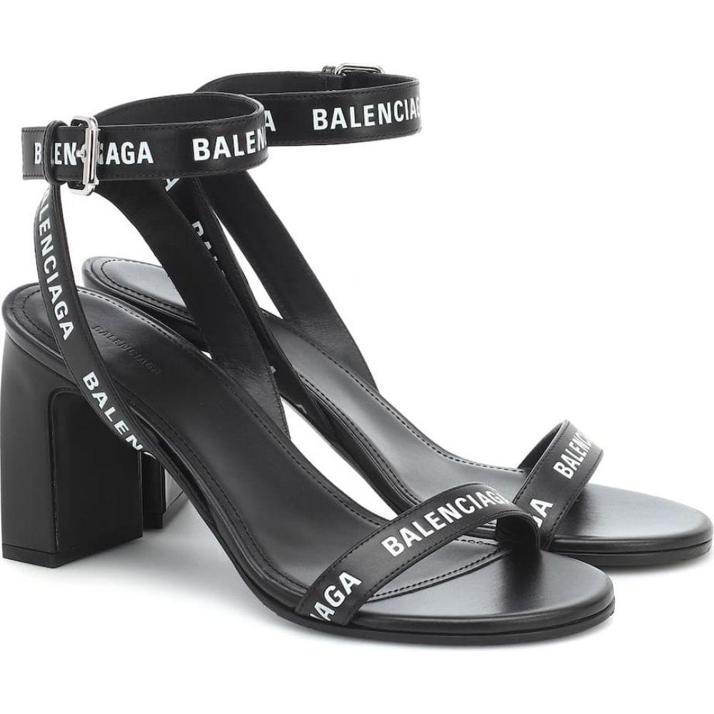 シューズ・靴【Logo Balenciaga レディース サンダル・ミュール バレンシアガ Sandals】Black/White Leather