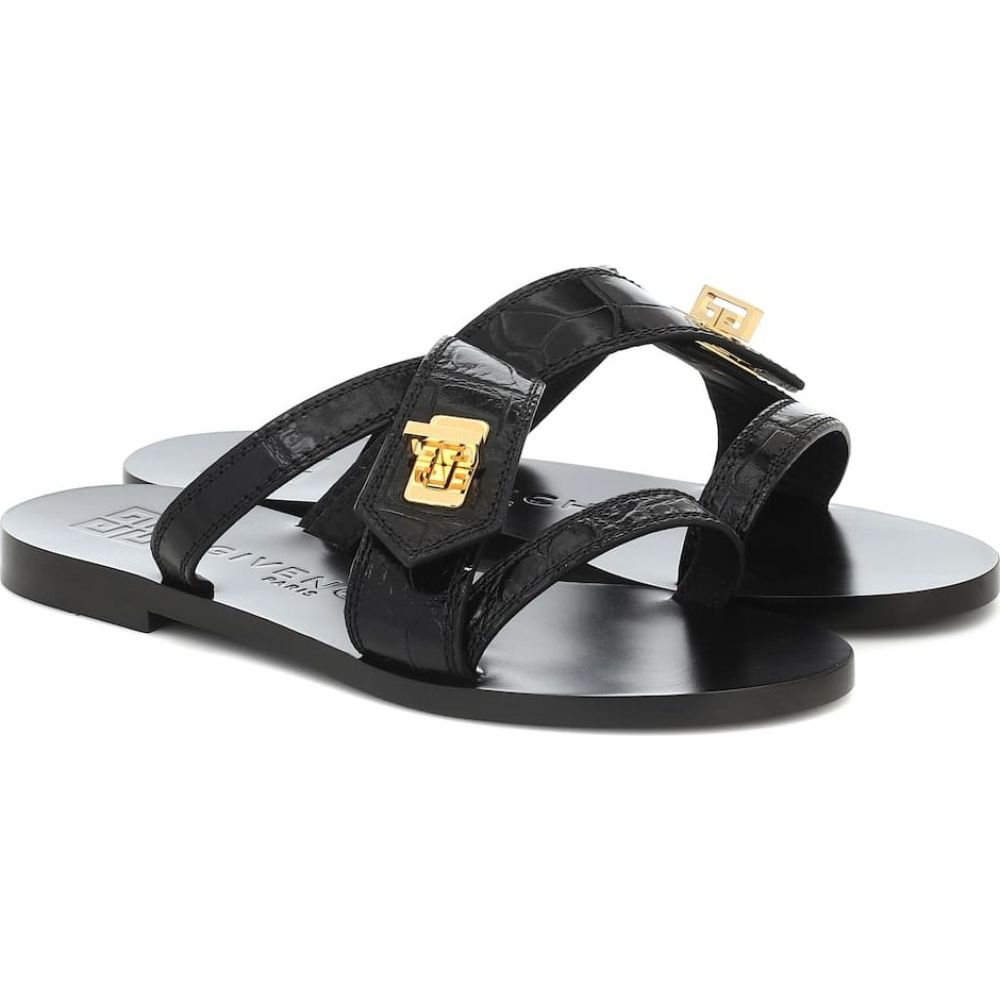 ジバンシー Givenchy レディース サンダル・ミュール シューズ・靴【Eden Croc-Effect Leather Sandals】Black:フェルマート