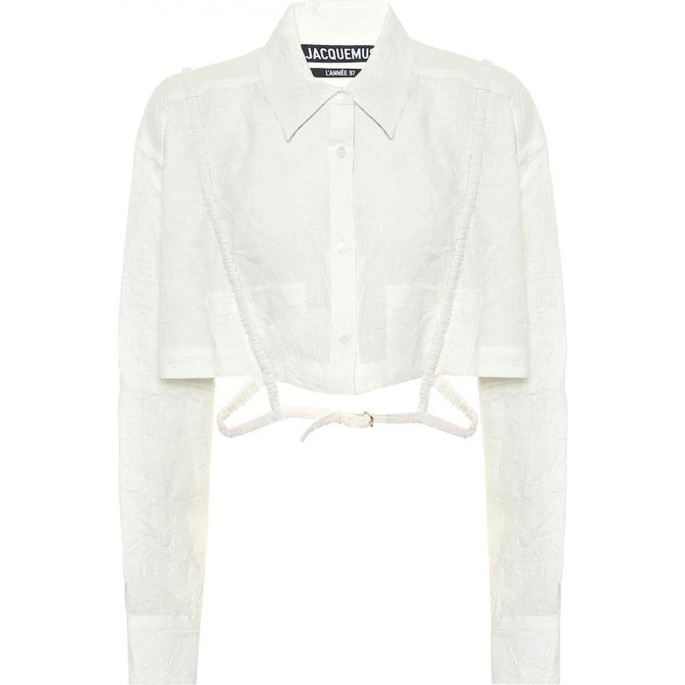 ジャックムス Jacquemus レディース ベアトップ・チューブトップ・クロップド トップス【La Chemise Cavaou Cropped Linen Shirt】White