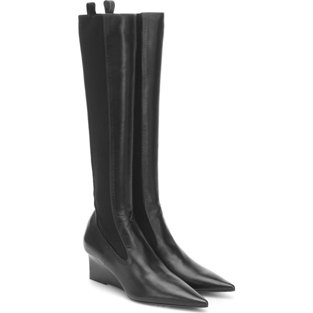 ジル サンダー Jil Sander レディース ブーツ ウェッジソール シューズ・靴【Leather Wedge Knee-High Boots】Nero