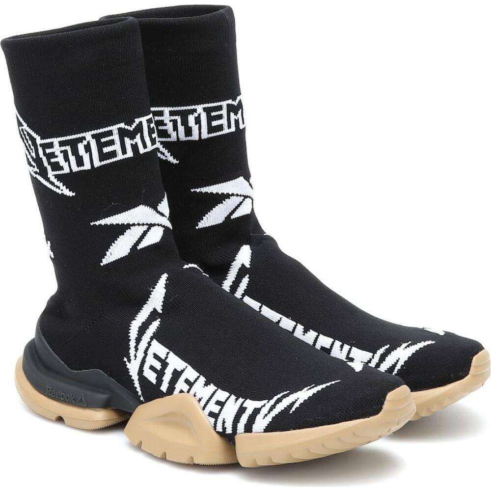 ヴェトモン Vetements レディース ランニング・ウォーキング リーボック スニーカー ソックス シューズ・靴【X Reebok Metal Sock Runner Sneakers】Black/White