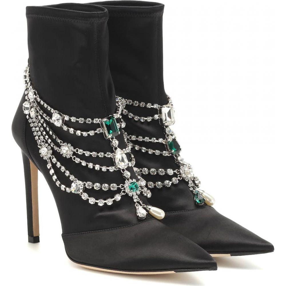 ジミー チュウ レディース シューズ 靴 ブーツ サイズ交換無料 Jimmy 新作入荷 Choo satin Crystal boots ankle ショートブーツ 期間限定特価品 Black Mix lyja