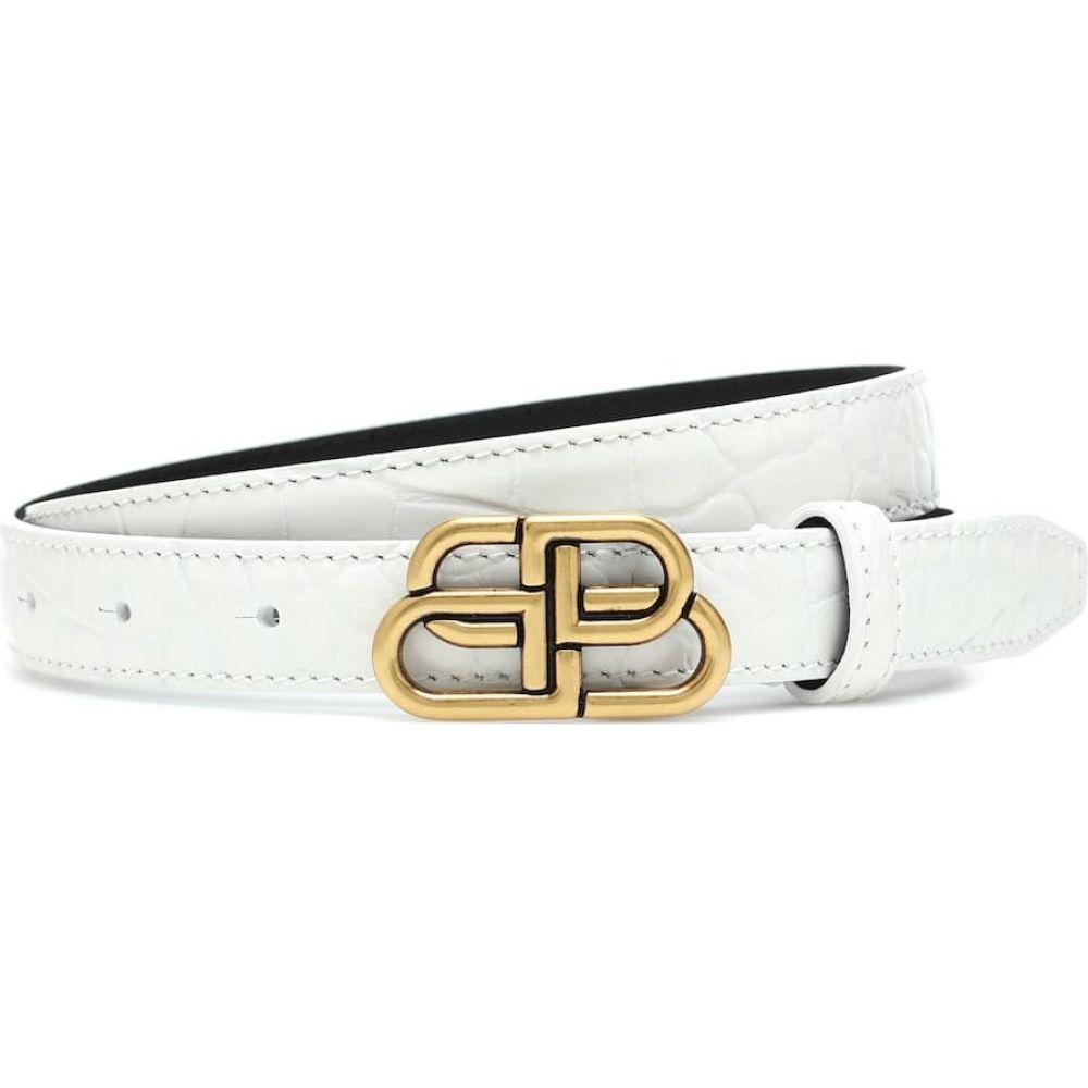 バレンシアガ レディース トレンド ファッション小物 ベルト サイズ交換無料 Balenciaga croc-effect bb お見舞い belt White leather