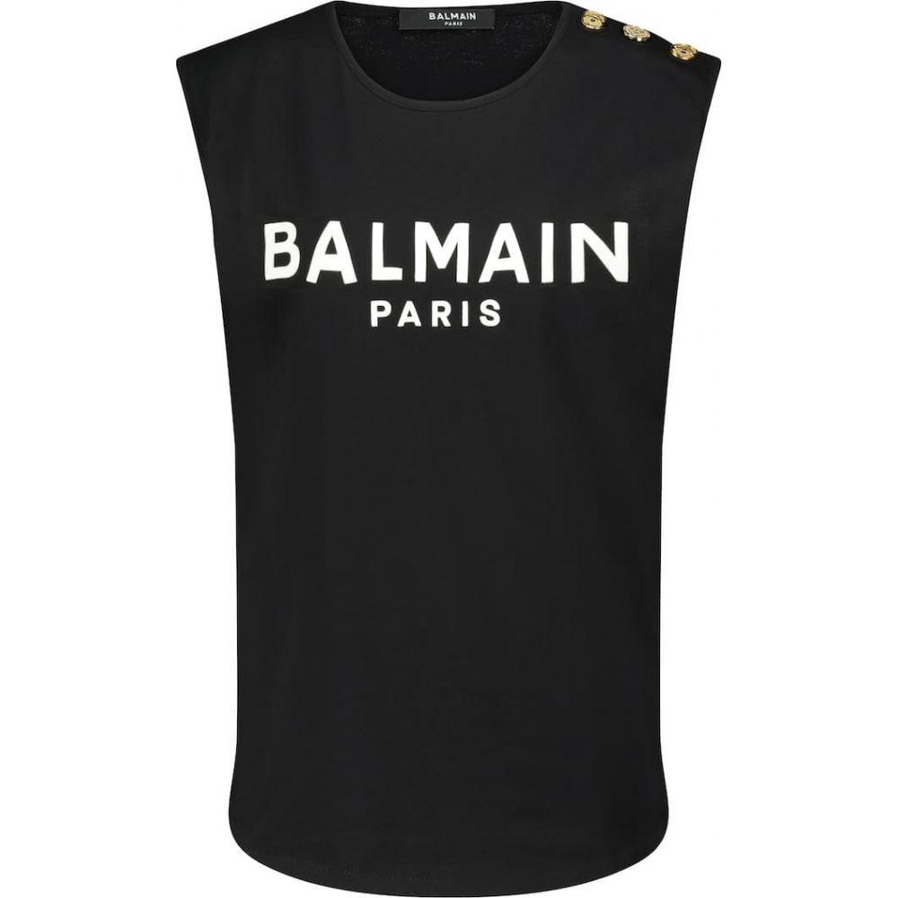 バルマン レディース トップス タンクトップ サイズ交換無料 Balmain 安い 激安 プチプラ 高品質 top tank Blanc logo Noir cotton 代引き不可