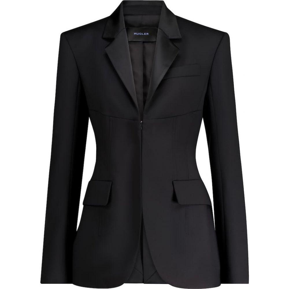 ミュグレー 品質検査済 レディース アウター スーツ ジャケット レビューを書けば送料当店負担 サイズ交換無料 virgin wool blazer Black Mugler