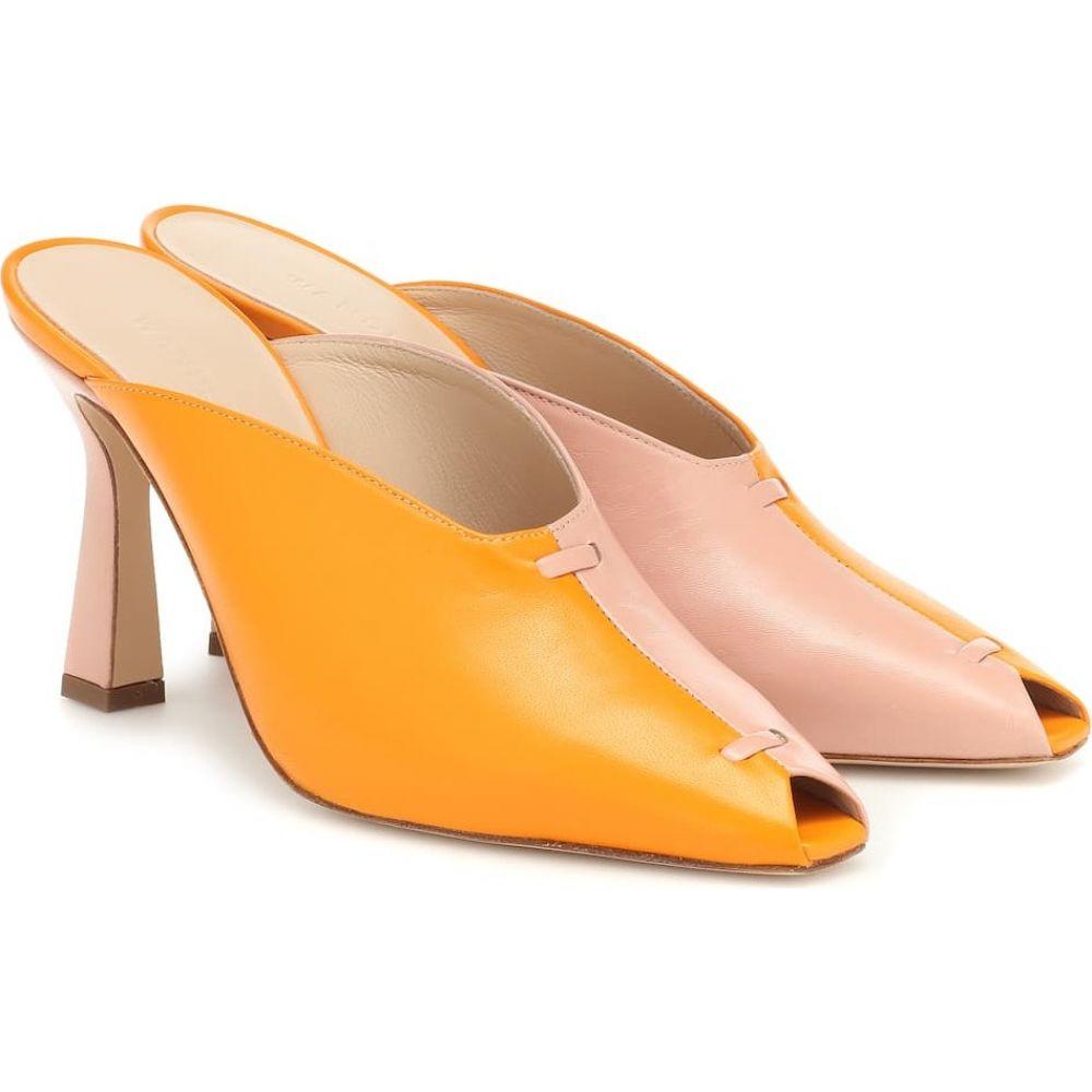 結婚祝い ワンダラー Wandler レディース サンダル・ミュール シューズ・靴【Niva two-tone leather mules】Shiny Powder Tangerine, 遊恵盆栽 b26e0fe8