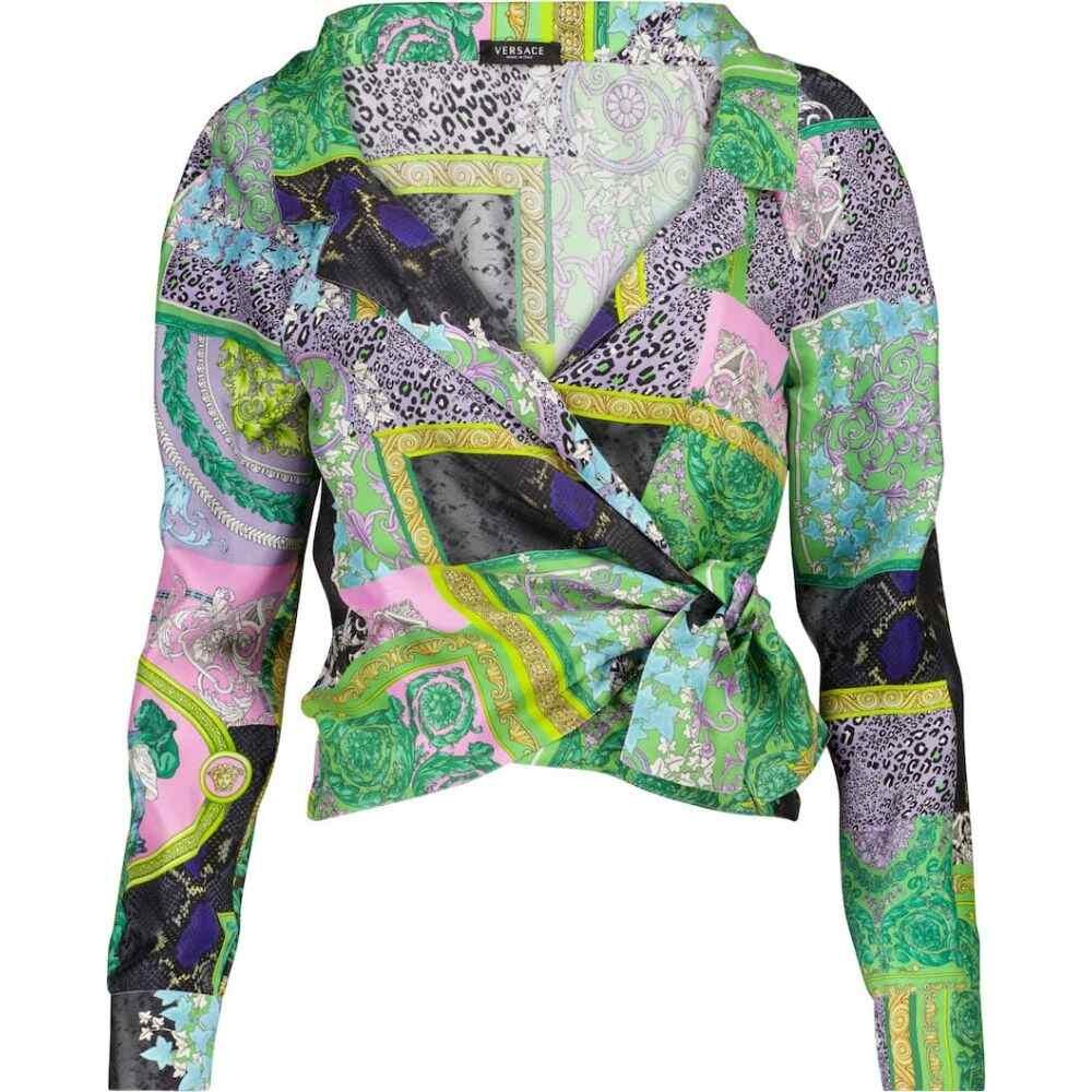 ビッグ割引 ヴェルサーチ Versace レディース トップス【Barocco ヴェルサーチ printed wrap silk wrap top【Barocco】Multicolor, ディーライズ:e6b60986 --- online-cv.site