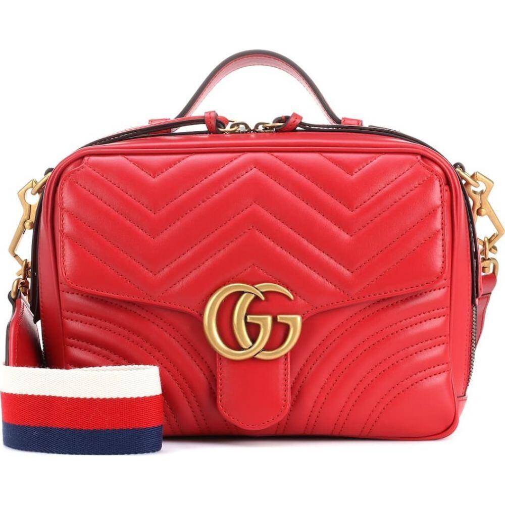 グッチ レディース バッグ ショルダーバッグ サイズ交換無料 Gucci GG Hibiscous Red 売却 leather shoulder 祝日 bag Marmont