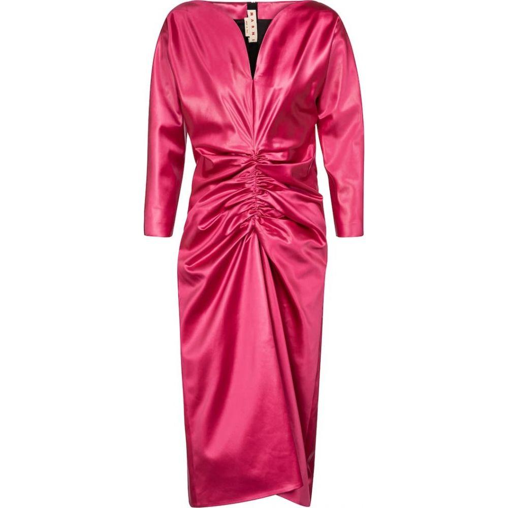 マルニ レディース ワンピース ドレス パーティードレス サイズ交換無料 Marni 国内送料無料 Starlight Pink satin midi ミドル丈 Ruched 安い dress