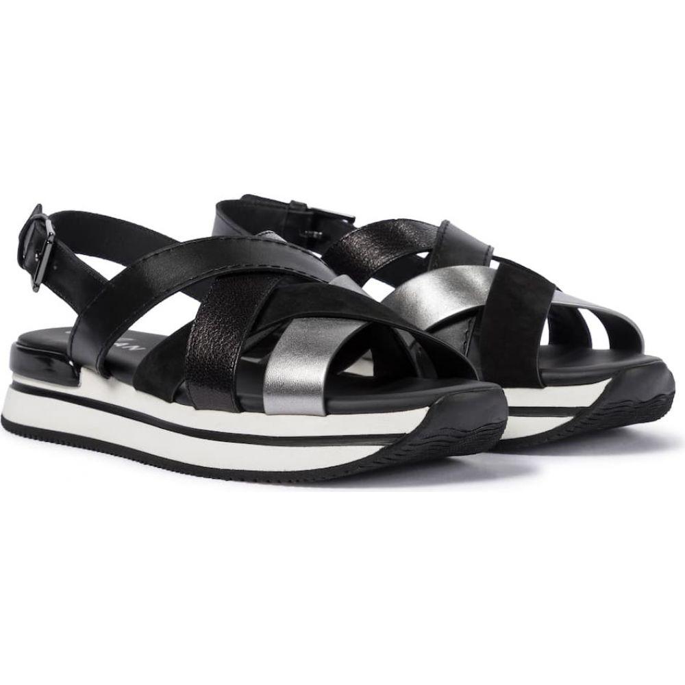 <title>ホーガン レディース シューズ 靴 サンダル ミュール サイズ交換無料 Hogan h257 leather platform 売買 sandals Grigio Medio Nero</title>