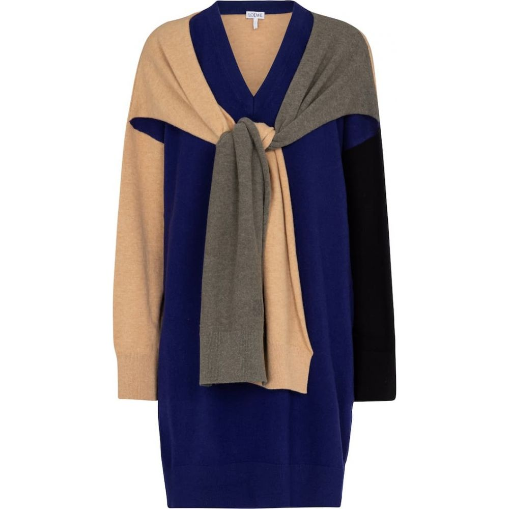 ロエベ Loewe レディース ワンピース ミニ丈 ワンピース·ドレス【sweater minidress】Navy Blue/Khaki Green/Black
