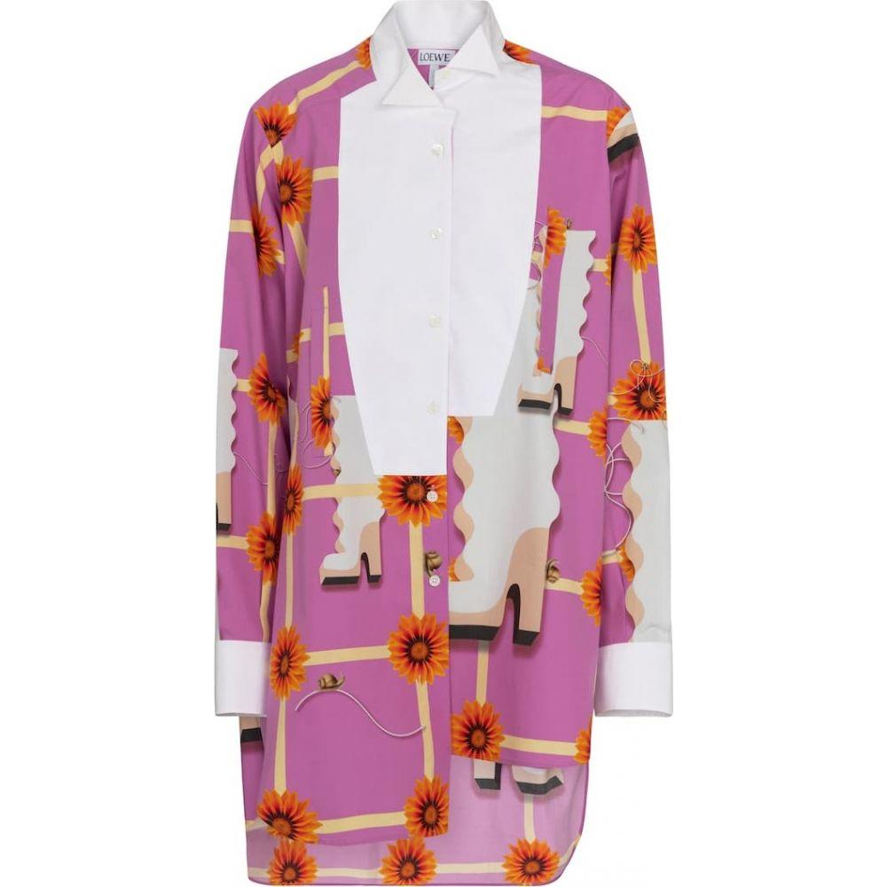 ロエベ Loewe レディース ブラウス·シャツ トップス【printed cotton poplin shirt】Multicolour/White