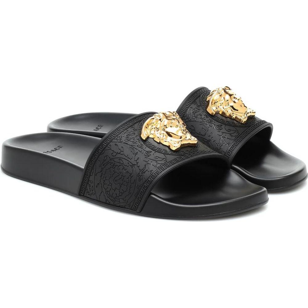 ヴェルサーチ 送料込 レディース シューズ 靴 日本製 サンダル ミュール サイズ交換無料 Black Warm medusa slides Gold Versace
