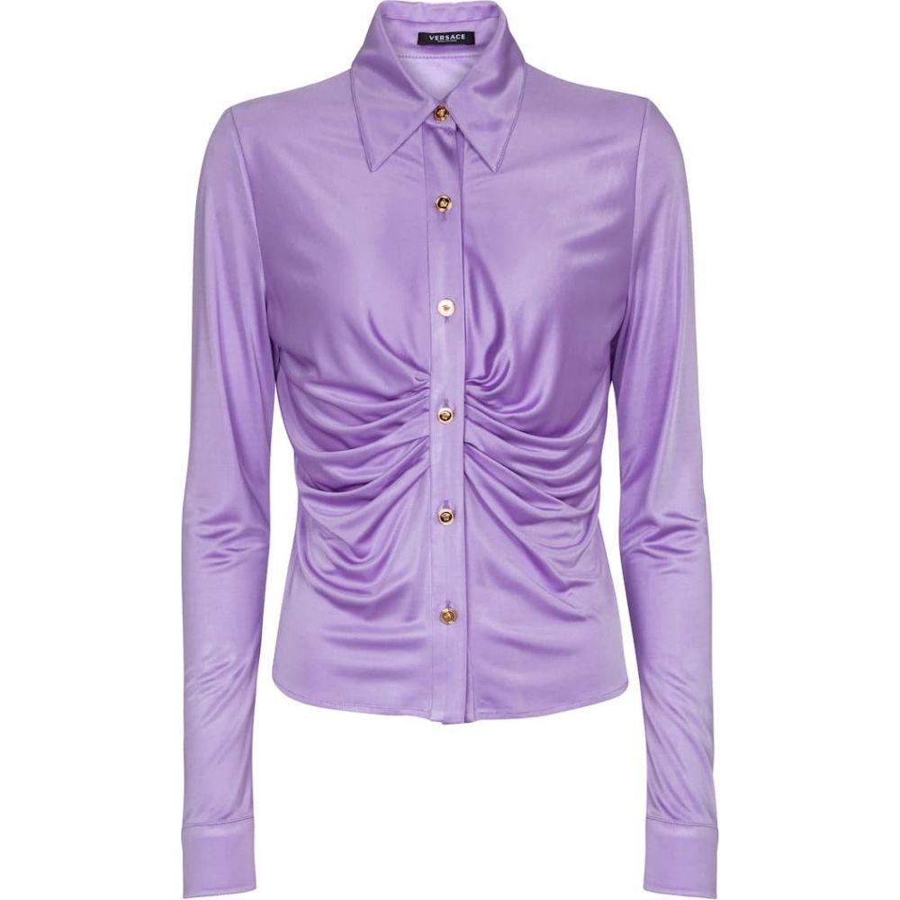 <title>ヴェルサーチ レディース トップス ブラウス シャツ サイズ交換無料 Versace ruched stretch-jersey shirt 授与 Jacaranda</title>