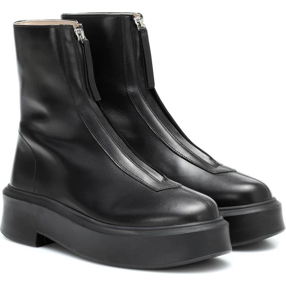 ザ ロウ 世界の人気ブランド レディース シューズ 靴 ブーツ サイズ交換無料 The Black zipped ankle leather Row boots 安心と信頼 ショートブーツ 1