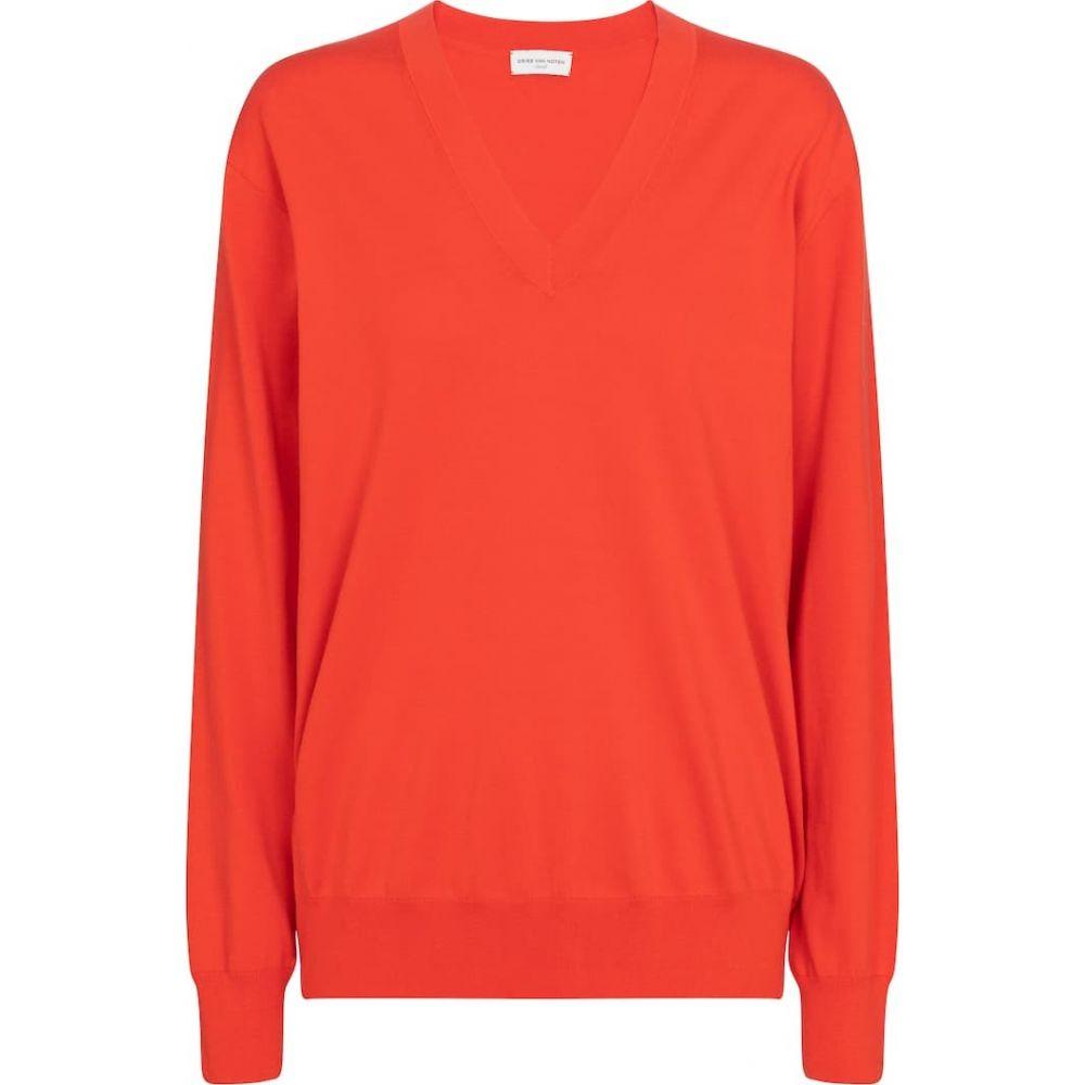 値引きする ドリス ヴァン Noten ノッテン ヴァン Dries Van Noten レディース ニット ドリス・セーター Vネック トップス【V-neck cotton sweater】Vermillion, インテリアの杜:daf149a2 --- esef.localized.me