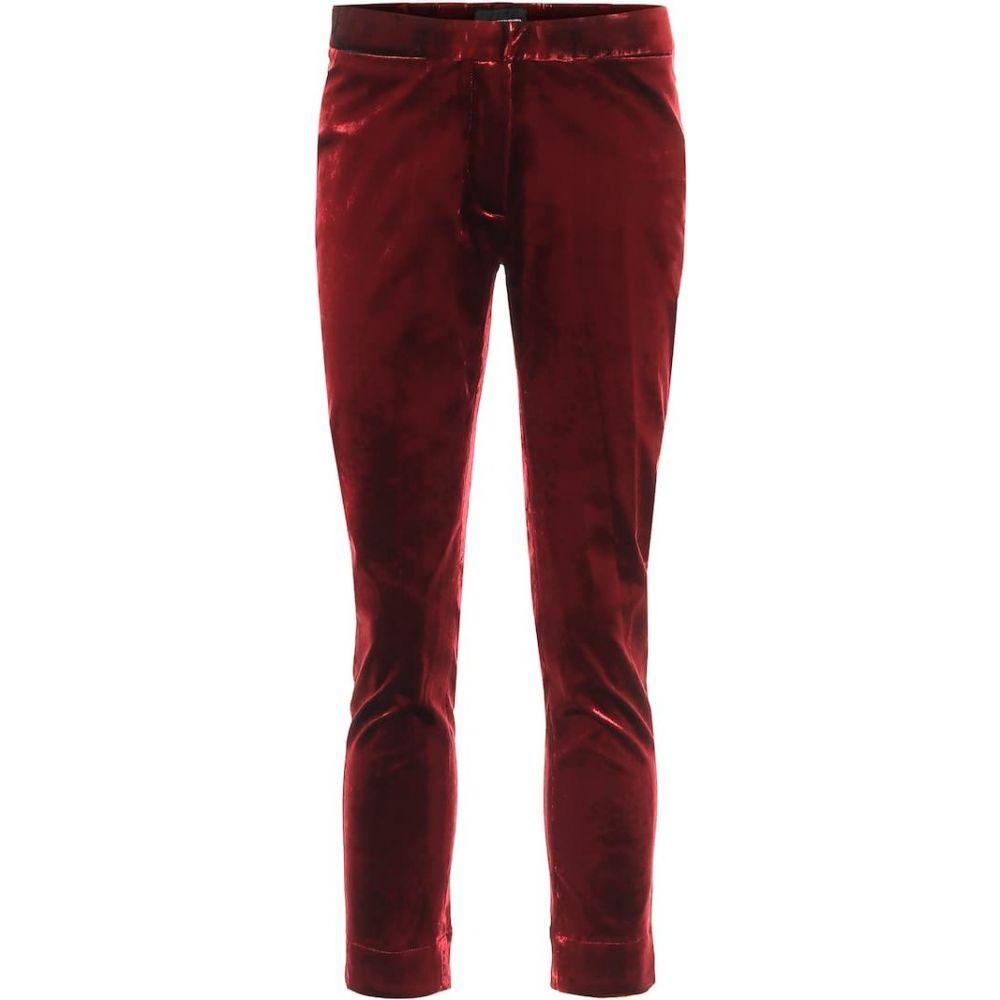 アンドゥムルメステール Ann Demeulemeester レディース クロップド スキニー ボトムス・パンツ【High-rise skinny cropped velvet pants】Red