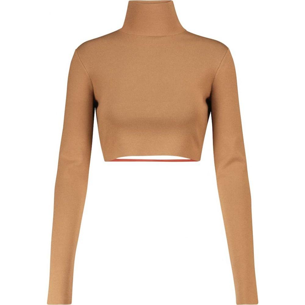 ゼイネプアルケイ レディース トップス ベアトップ チューブトップ クロップド サイズ交換無料 Zeynep top Light Arcay mockneck 人気ブランド 卓越 Brown knit Cropped