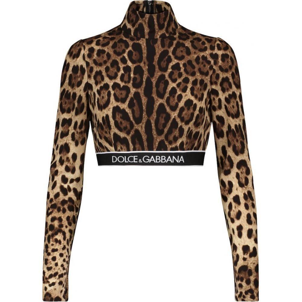 ドルチェガッバーナ レディース トップス ベアトップ チューブトップ クロップド サイズ交換無料 Dolce ブランド品 New top 好評 Gabbana Leopard-print crop stretch-silk Leo