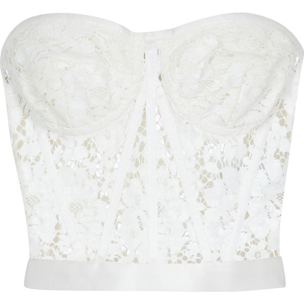 ドルチェガッバーナ レディース トップス ベアトップ スーパーセール チューブトップ クロップド サイズ交換無料 Dolce Strapless bustier Bianco Naturale lace 高い素材 top ビスチェ Gabbana