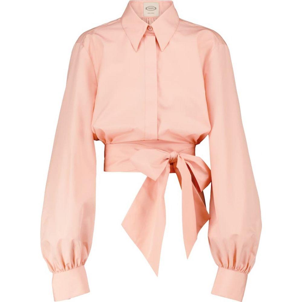 トッズ 美品 レディース トップス ベアトップ チューブトップ 店内全品対象 クロップド サイズ交換無料 Tod's cropped Long-sleeved Pink cotton shirt