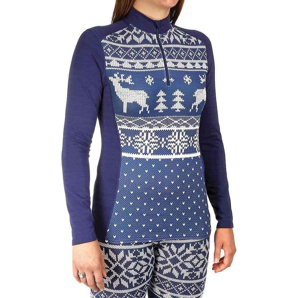 ホットチリーズ Hot Chillys レディース ハイキング・登山 トップス【MTF4000 Sublimated Print Zip-T】Knitty/Lapis