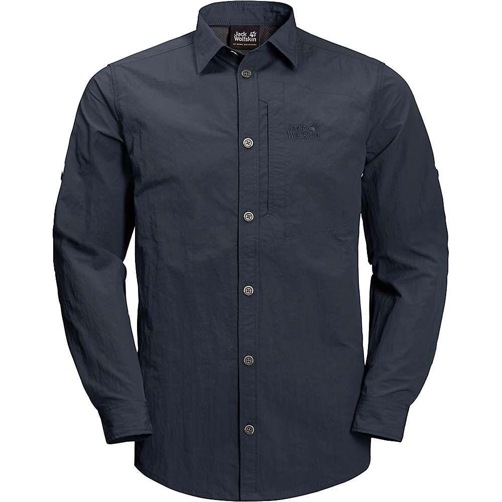 ジャックウルフスキン Jack Wolfskin メンズ ハイキング・登山 トップス【Lakeside Roll-Up Shirt】Night Blue