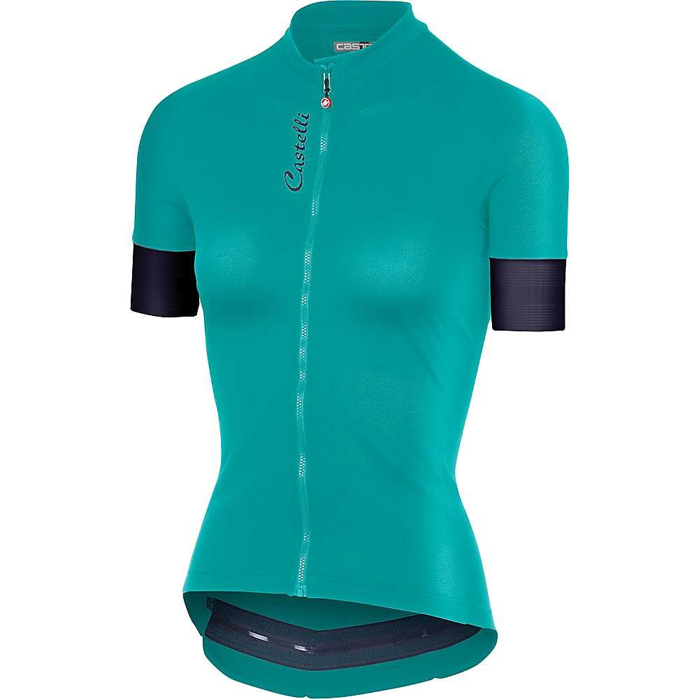 カステリ Castelli レディース 自転車 トップス【Anima 2 Full Zip Jersey】Tourquoise Green/Dark Steel Blue
