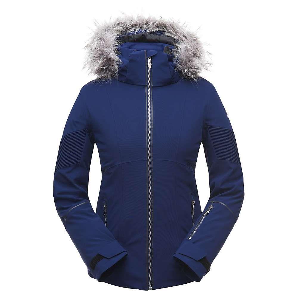 スパイダー Spyder レディース スキー・スノーボード アウター【Diabla Faux Fur Jacket】Blue Depths / Black