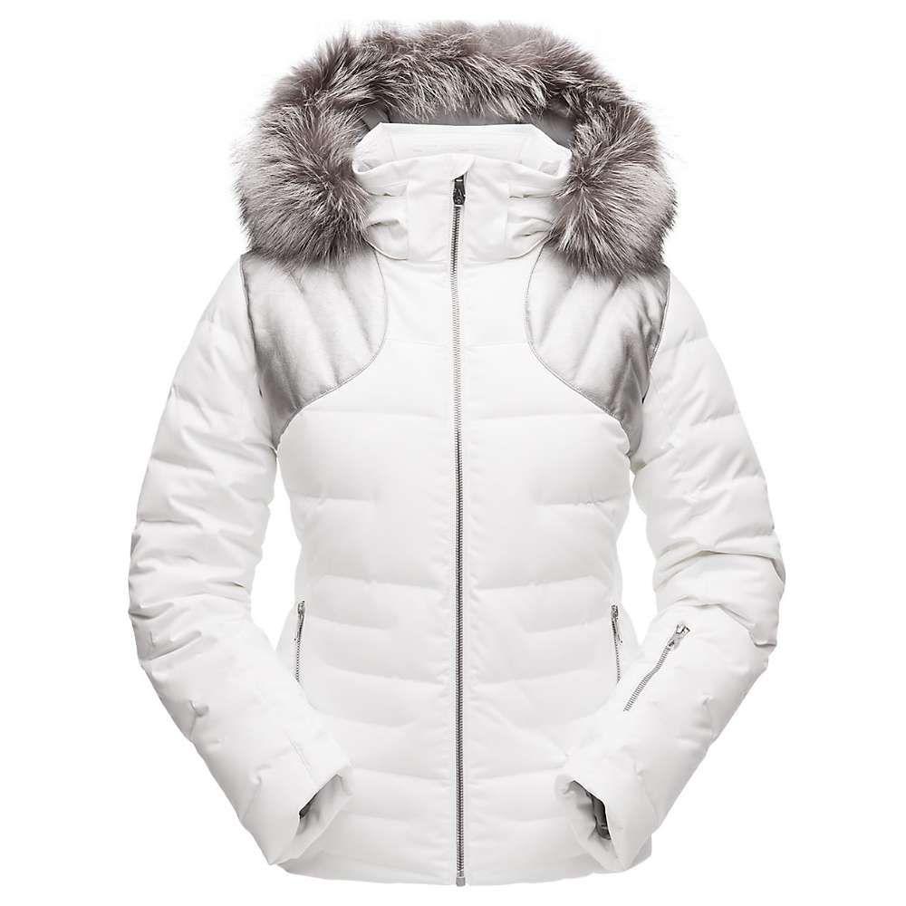 スパイダー Spyder レディース スキー・スノーボード アウター【Falline Real Fur Jacket】White/Silver