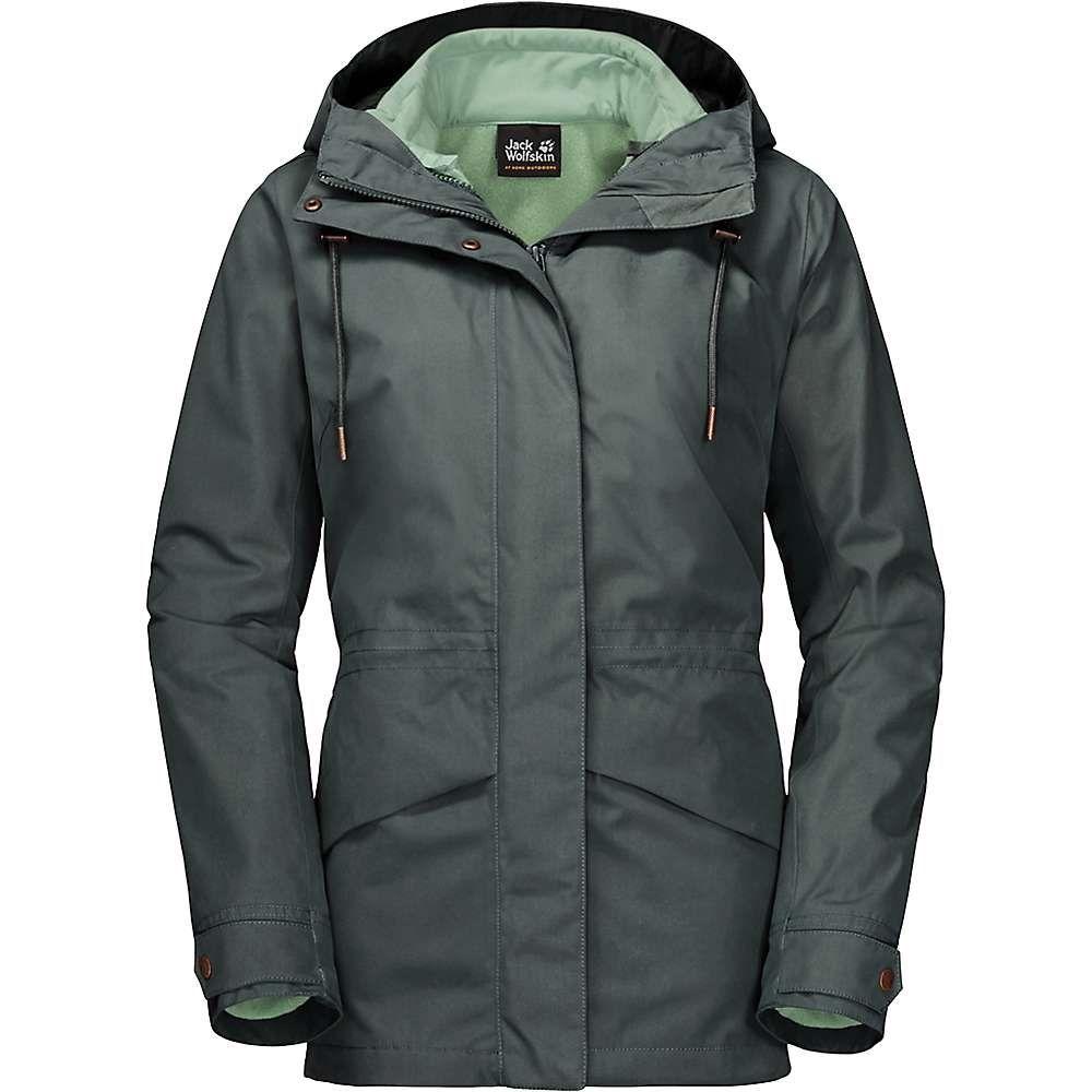 ジャックウルフスキン Jack Wolfskin レディース スキー・スノーボード ジャケット アウター【Rochelle 3 In 1 Jacket】Greenish Grey