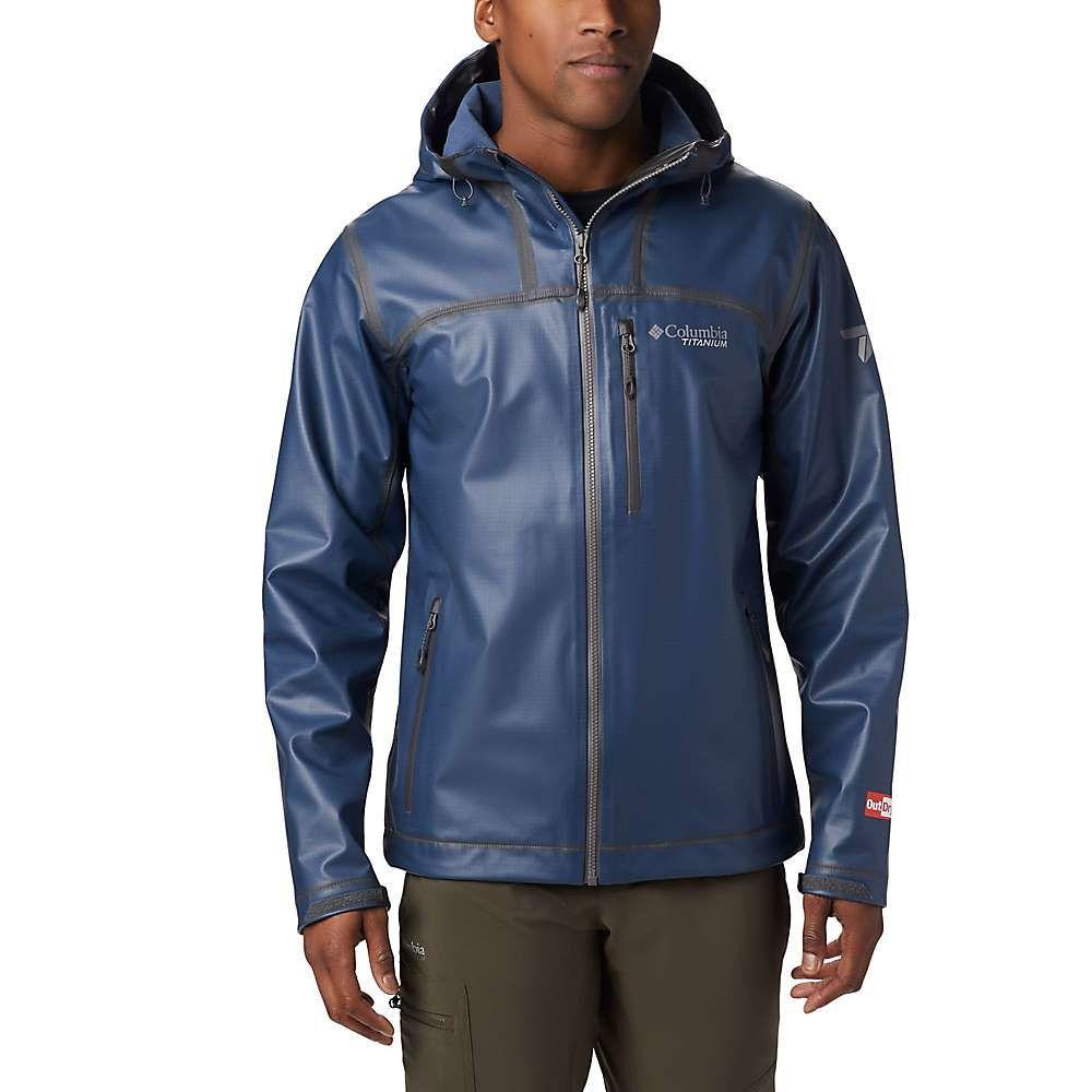 コロンビア Columbia メンズ ジャケット フード シェルジャケット アウター【Titanium OutDry Ex Stretch Hooded Shell Jacket】Collegiate Navy Ripstop Print