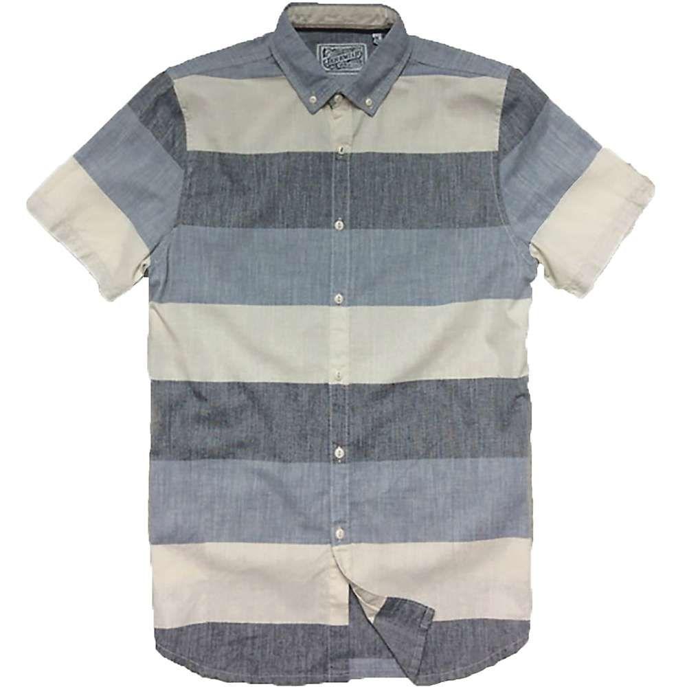 ジェレミア Jeremiah メンズ 半袖シャツ トップス【slub woven stripe s/s shirt】Slate