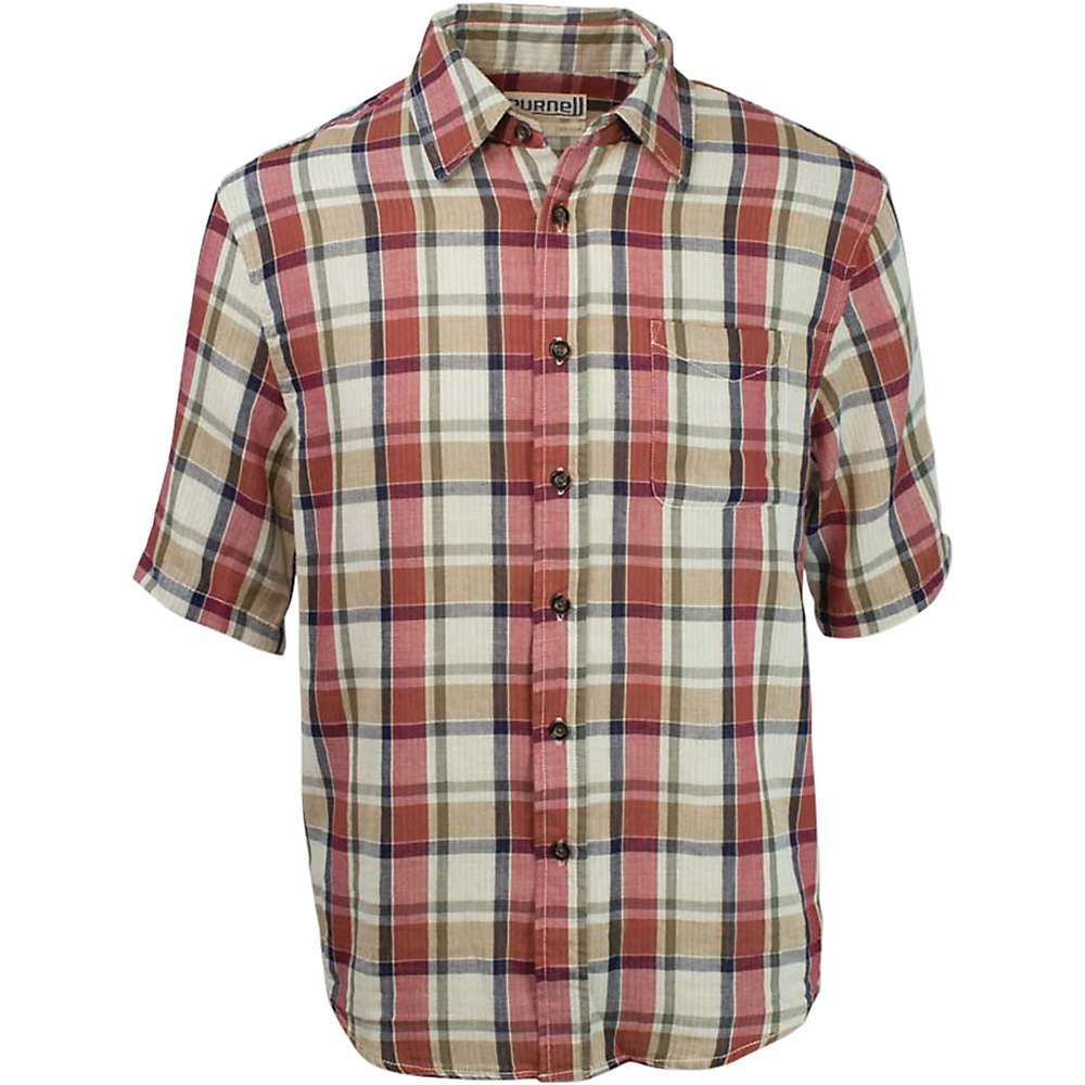 パーネル Purnell メンズ 半袖シャツ トップス【double sided plaid button up ss shirt】Red/Contrast Strripe