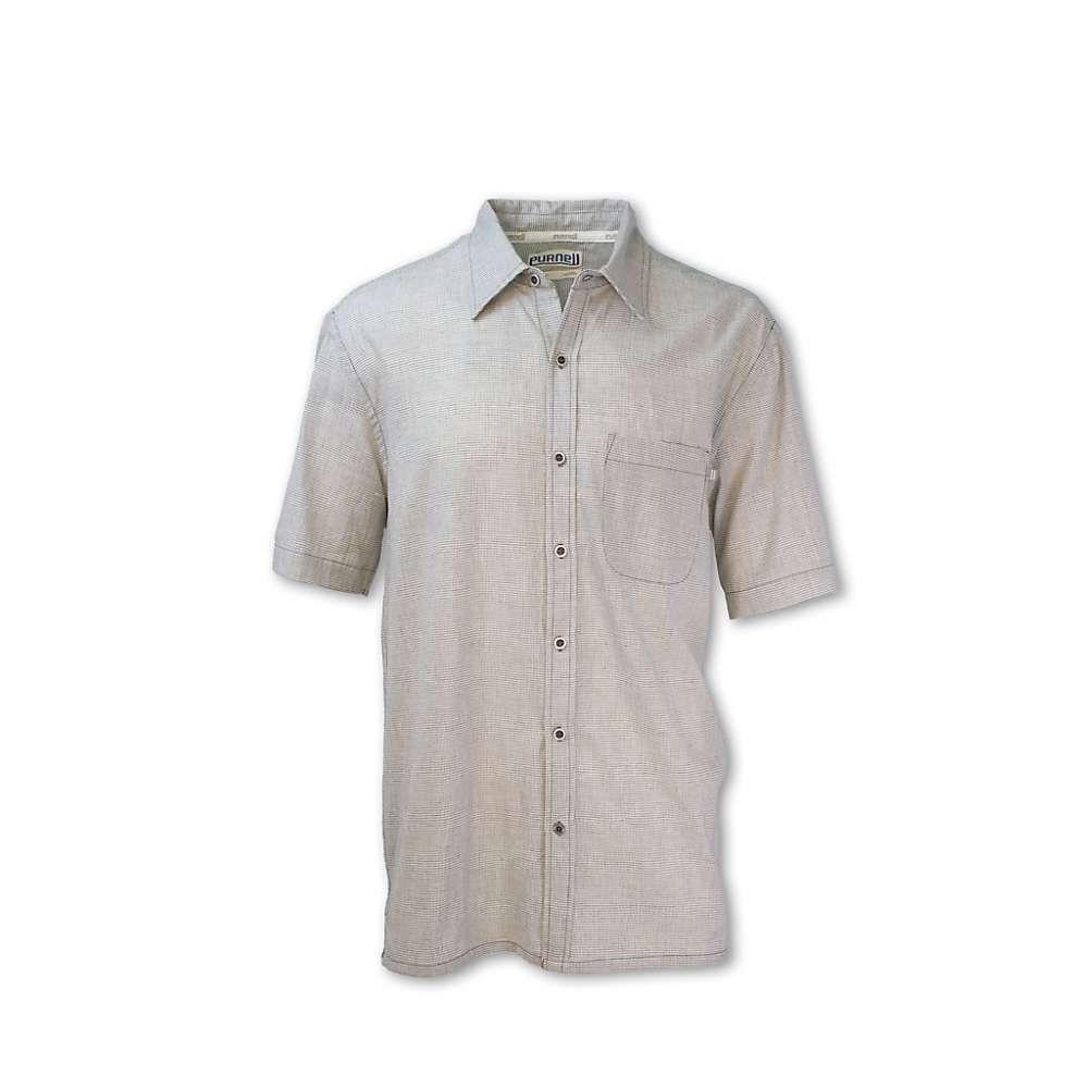 パーネル Purnell メンズ 半袖シャツ トップス【microcheck madras shirt】Black/White