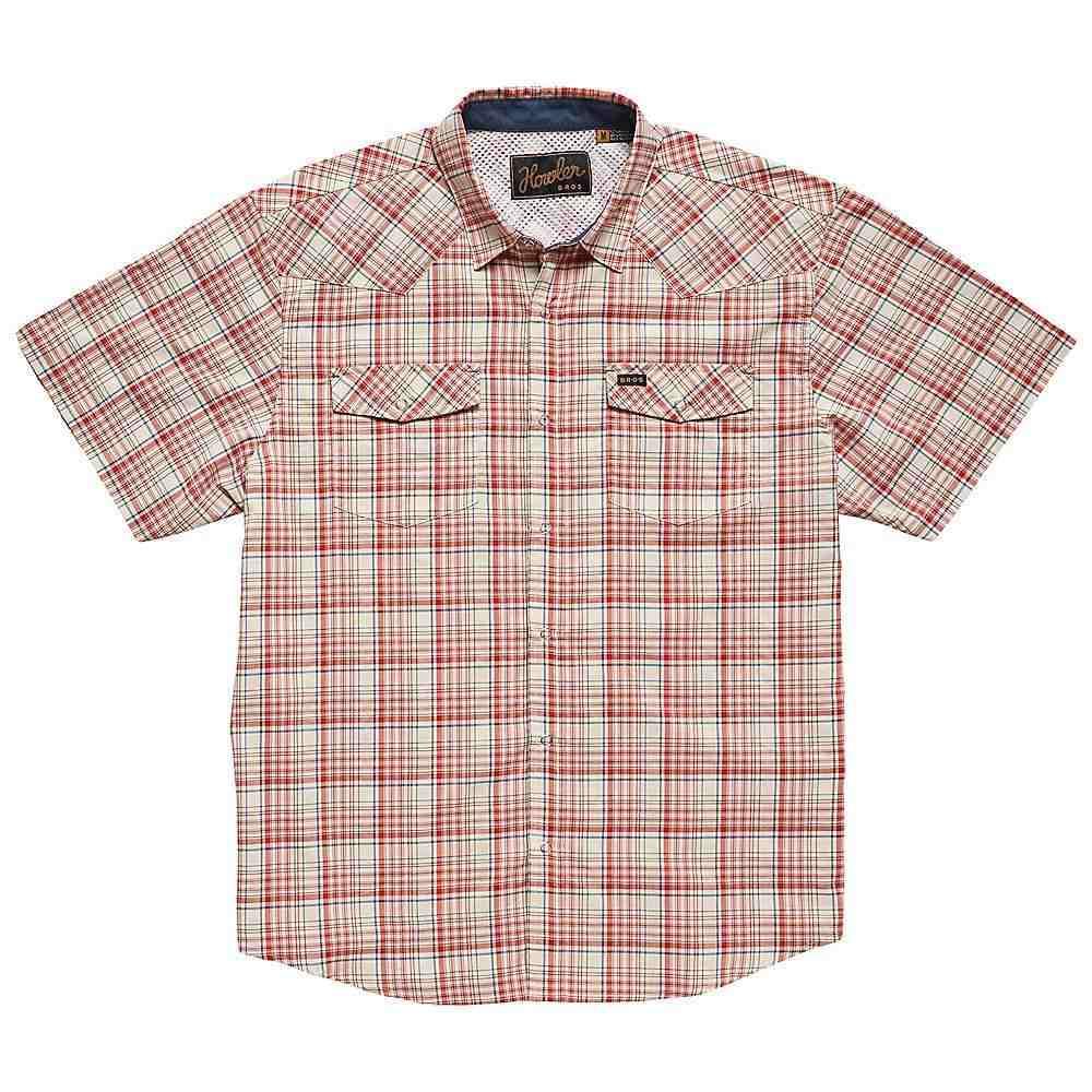 ホウラーブラザーズ Howler Brothers メンズ 半袖シャツ トップス【h bar b tech shirt】Salvo Plaid Mars Red