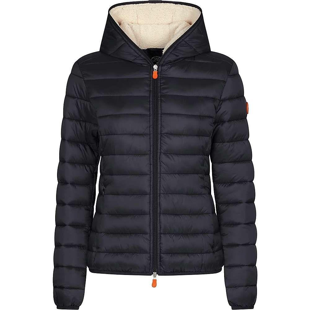 セイブ ザ ダック Save The Duck レディース ジャケット フード アウター【hooded sherpa jacket】Black